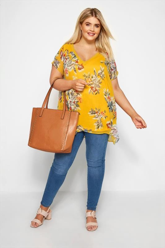 Yellow Floral Chiffon Cape Top