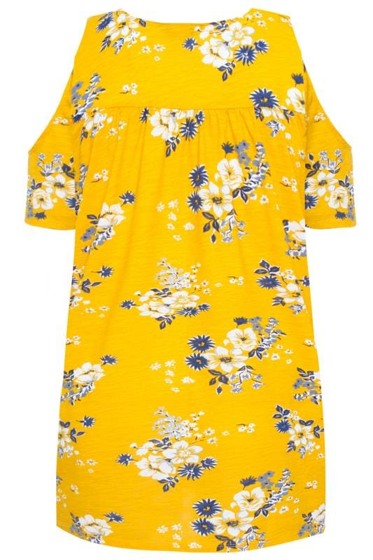 Yellow Floral Cold Shoulder Top