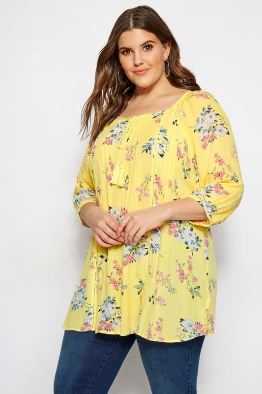 Plus Size Day Tops Yellow Floral Gypsy Top