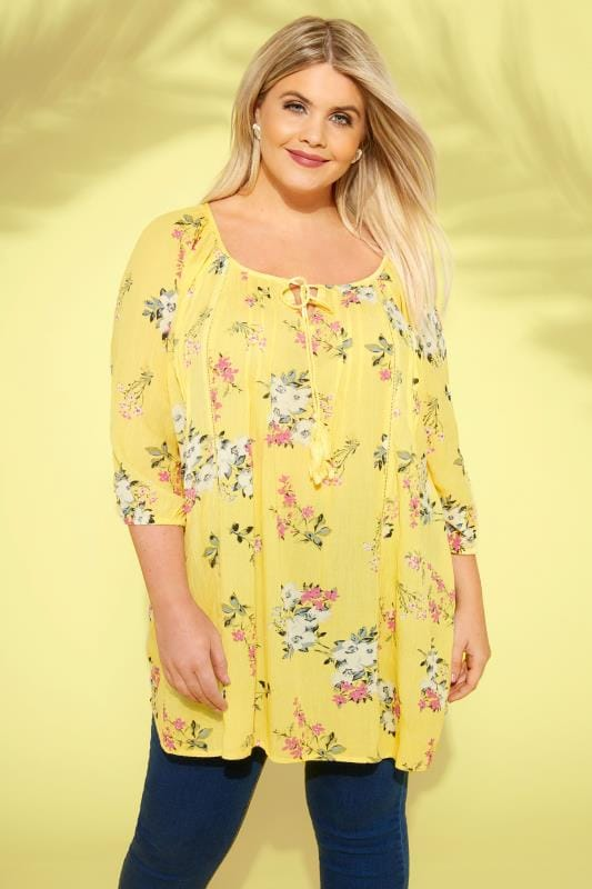 Yellow Floral Gypsy Top