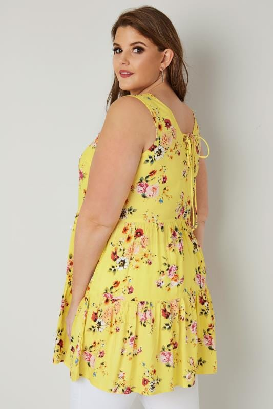 Yellow Floral Layered Longline Top With Front Lace Cross Over