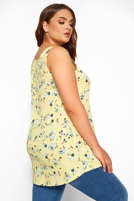 Yellow Floral Print Swing Vest Top