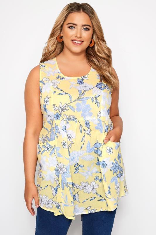 Plus Size Blouses & Shirts Yellow Floral Sleeveless Pocket Blouse