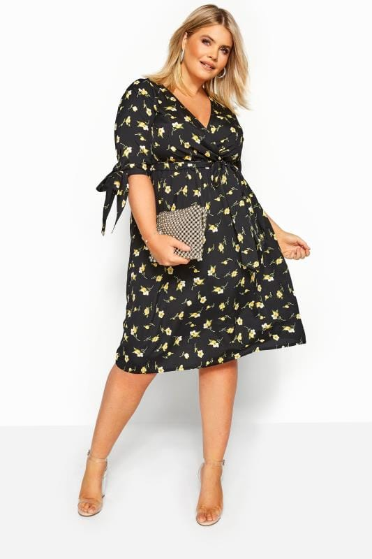 Floral Dresses Grande Taille Yellow Floral Tie Sleeve Wrap Dress