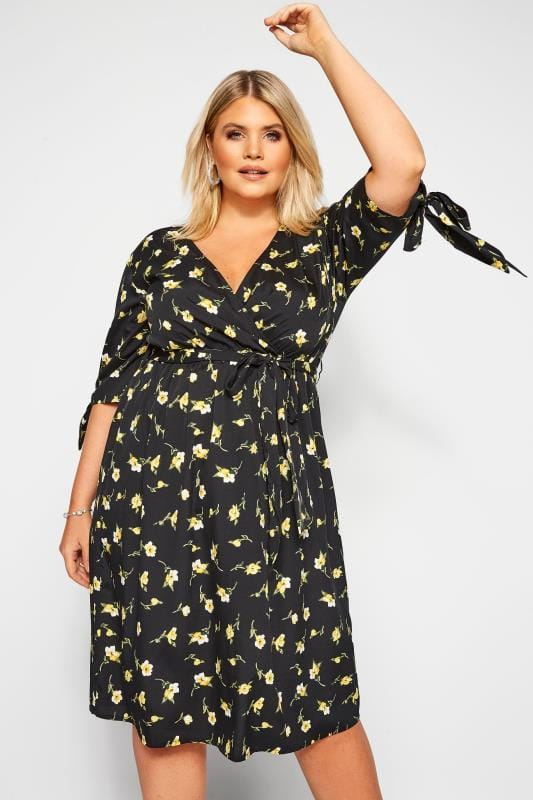 Plus Size Floral Dresses Yellow Floral Tie Sleeve Wrap Dress