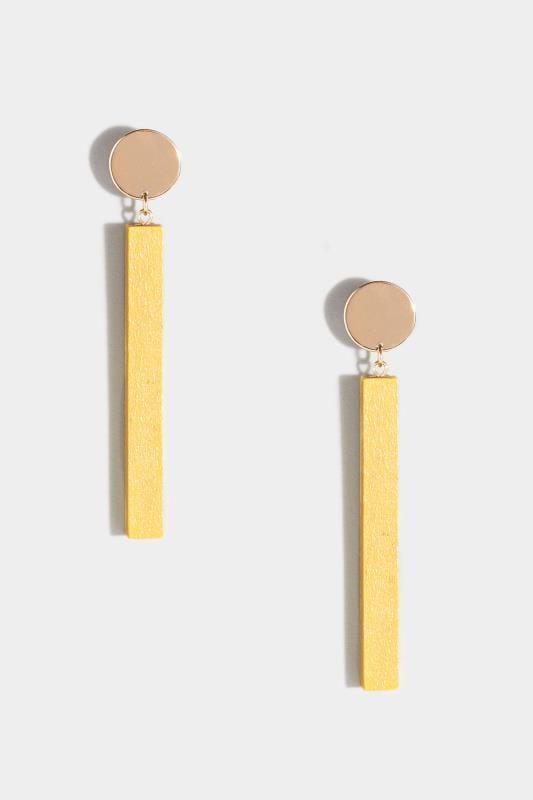Yellow & Gold Wooden Drop Earrings