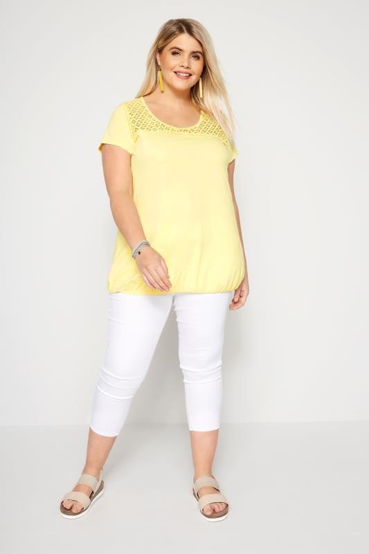 Yellow Lace Bubble Hem Top