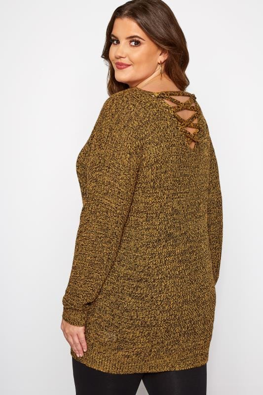 Plus Size Knitted Tops & Sweaters Mustard Lattice Back Twist Knit Jumper