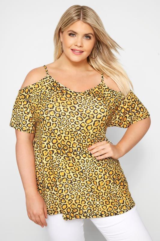 Große Größen Schulterfreie Oberteile Schulterfreies Top mit Leoparden-Muster - Gelb