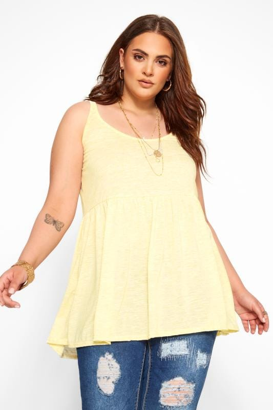 Plus Size Vests & Camis Yellow Marl Peplum Vest Top