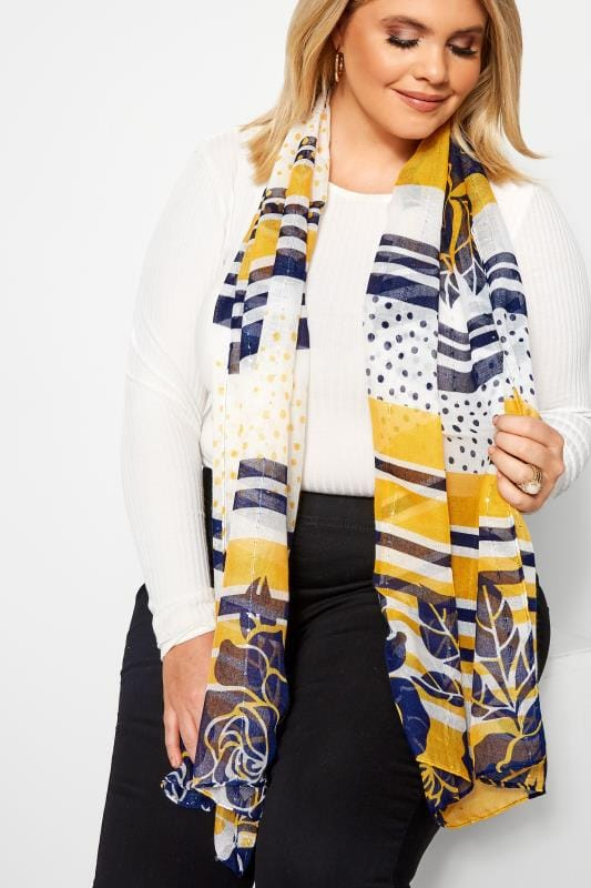 Plus Size Scarves Yellow Mixed Floral Scarf