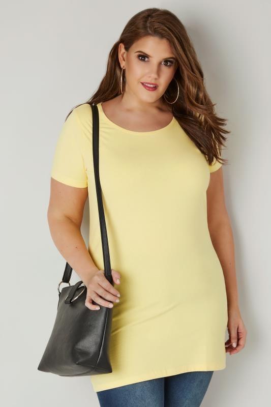 Gelbes Longline Jersey T-Shirt mit Rundhalsausschnitt
