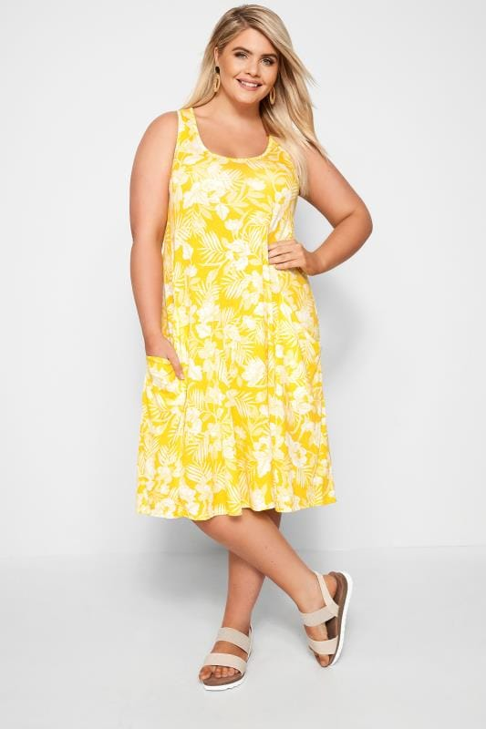 Yellow Sleeveless Floral Drape Pocket Dress