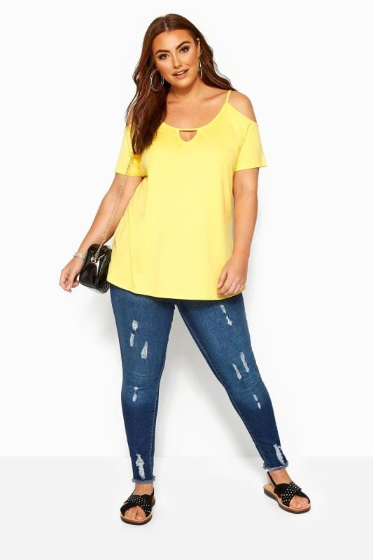 Lemon Yellow Strappy Cold Shoulder Top