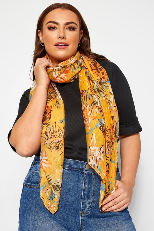 Plus Size Scarves Yellow Tropical Floral Scarf