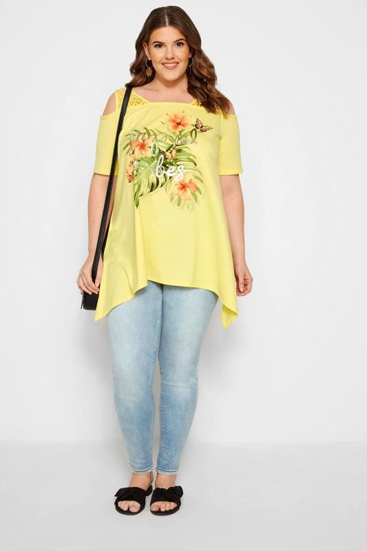 Yellow 'Tropical Vibes' Floral Cold Shoulder Top