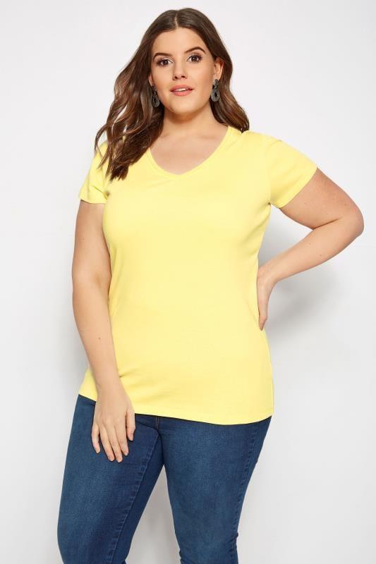 Plus Size Basic T-Shirts & Vests Yellow V-Neck T-Shirt