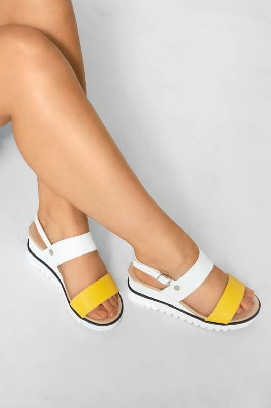 Wide Fit Wedges Yellow & White Sporty Wedge Sandals In Extra Wide Fit