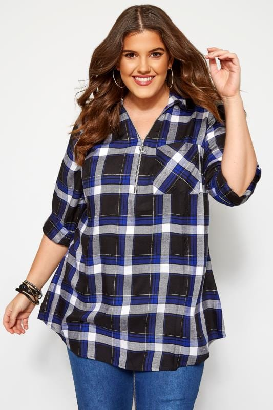Plus Size Checked Shirts Cobalt Blue Metallic Check Shirt With Zip Front