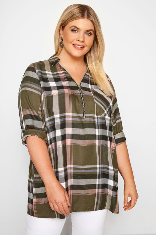Plus Size Checked Shirts Khaki Check Shirt With Zip Front