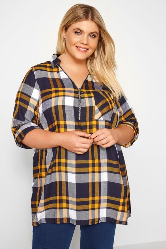 Plus Size Checked Shirts Yellow & Navy Check Shirt With Zip Front
