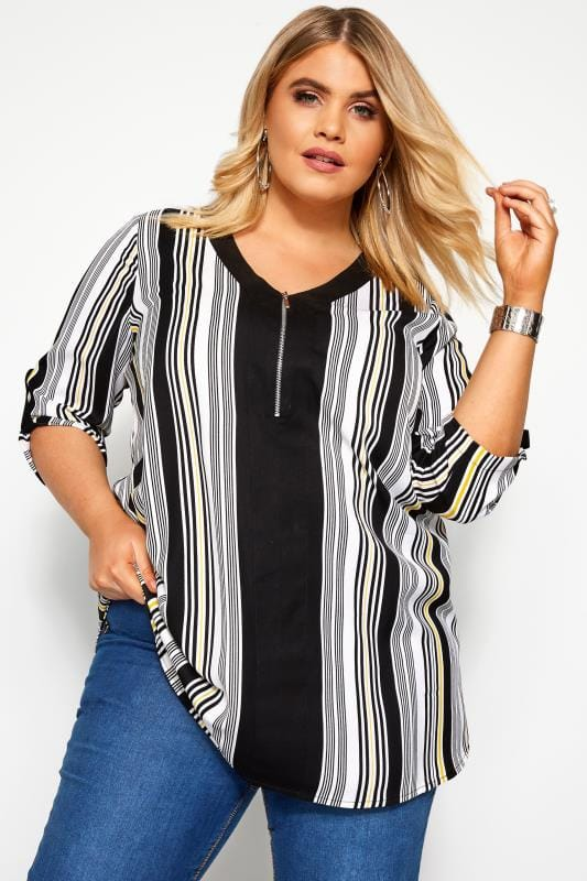 Blouses & Shirts Grande Taille Black & White Stripe Zip Neck Top