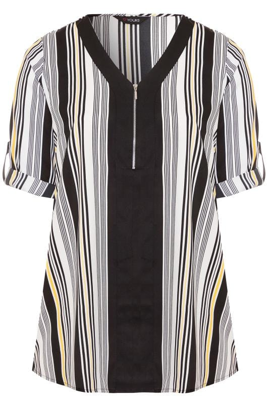 Black & White Stripe Zip Neck Top