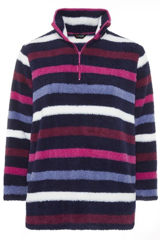 Navy & Pink Zip Neck Fleece