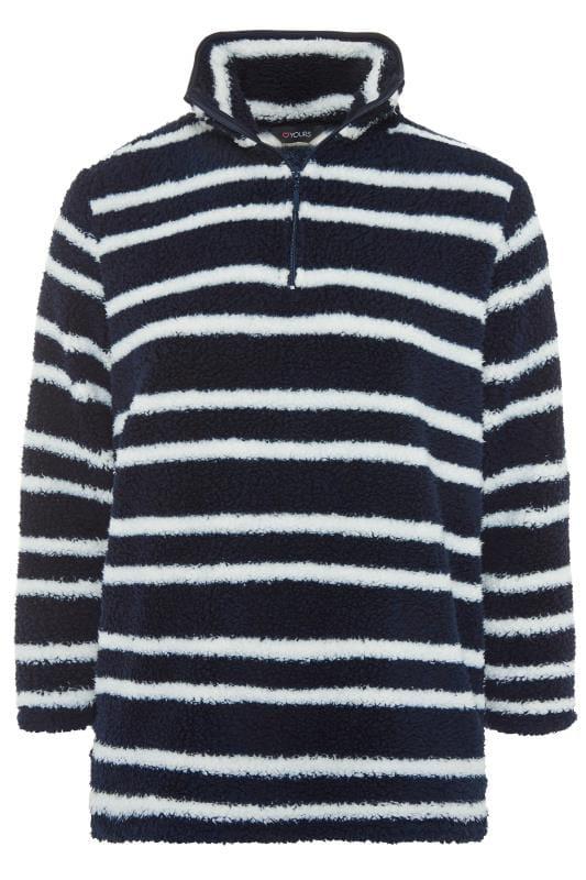 Navy & White Zip Neck Fleece