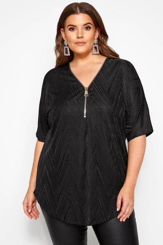 Plus Size Day Tops Black Textured Zip Neck Top