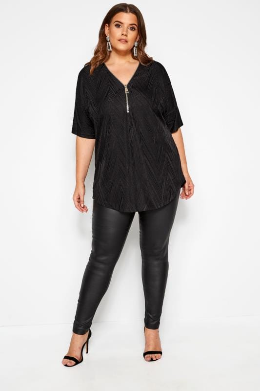 Black Textured Zip Neck Top