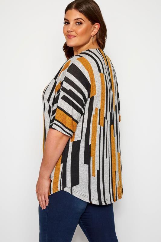 Grey & Mustard Abstract Stripe Zip Neck Top