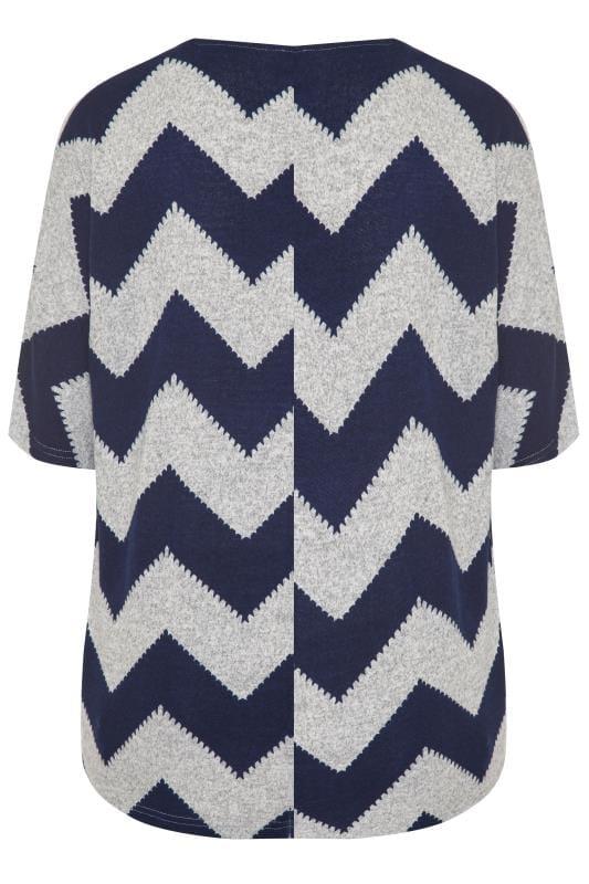 Grey & Navy Chevron Zip Neck Knitted Top