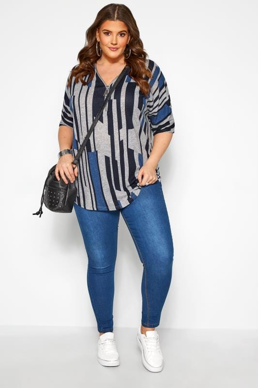 Grey & Cobalt Blue Abstract Stripe Zip Neck Top