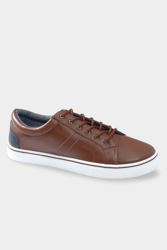 Plus Size Footwear D555 Brown Faux Leather Trainers