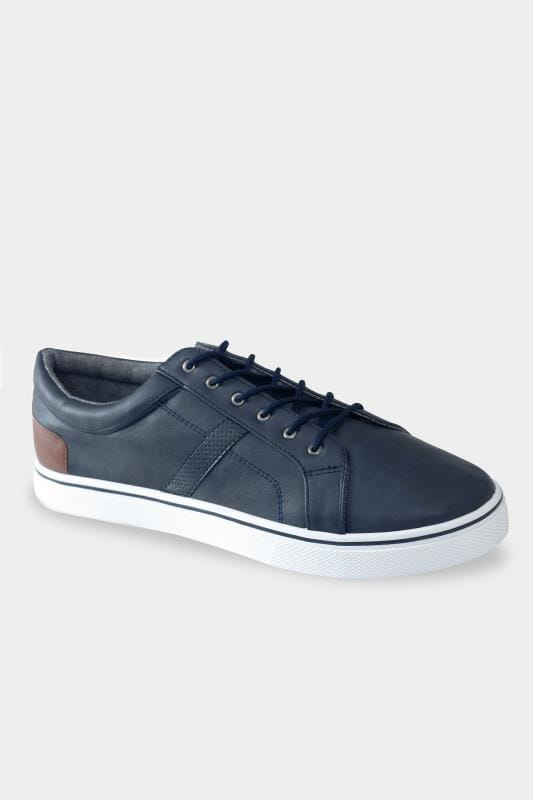 Footwear D555 Navy Faux Leather Trainers 202050