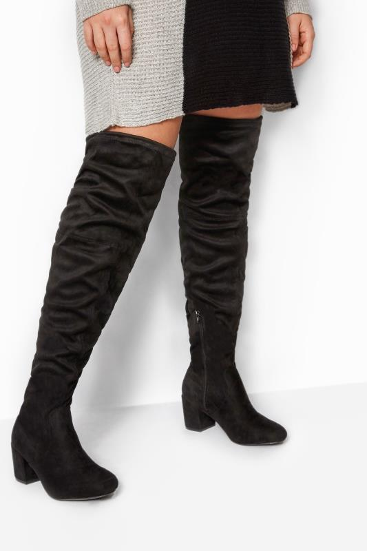 Wide Fit Boots Black Faux Suede Over The Knee Boots In Extra Wide Fit