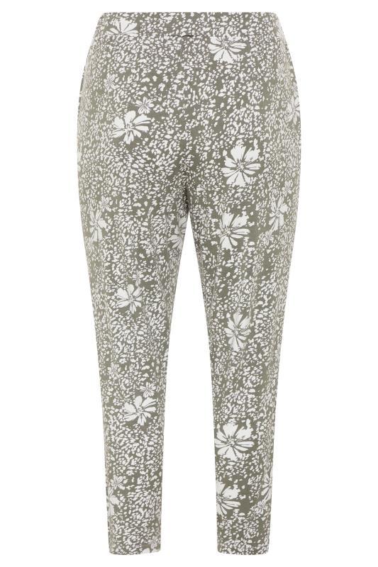 Plus Size  Khaki Floral Print Pleated Harem Trousers