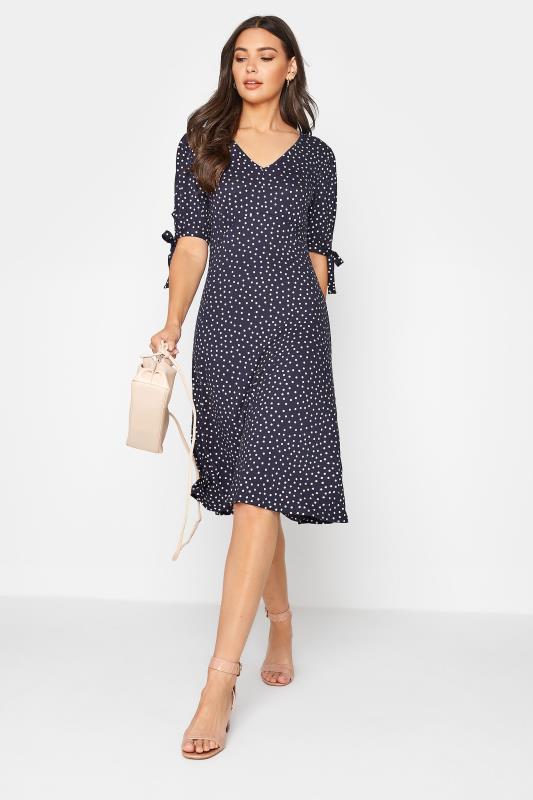 LTS Navy Polka Dot Tie Sleeve Midi Dress