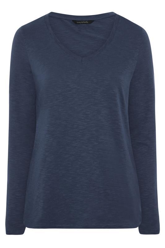 Navy Cotton V-Neck Long Sleeve Top