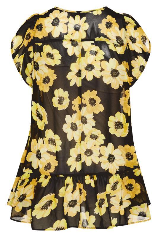 Black and Yellow Floral Frill Hem Tunic_BK.jpg