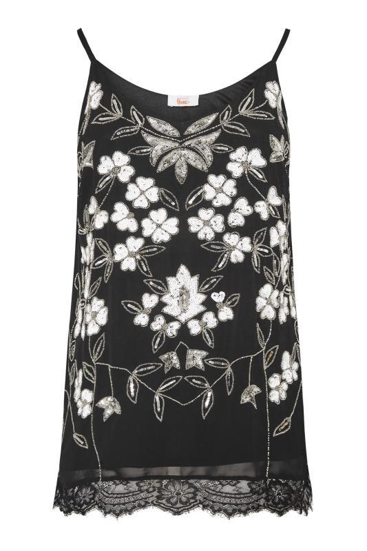 Großen Größen  LUXE Black Sequin & Lace Hand Embellished Cami Top