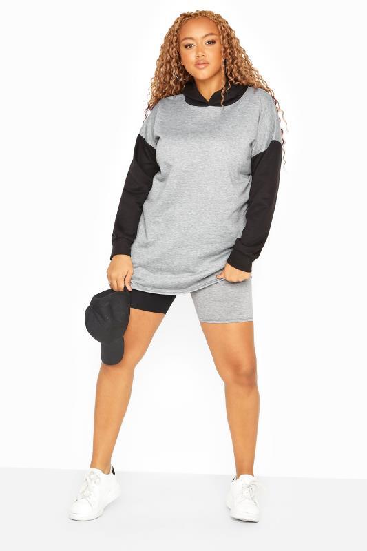 Black & Grey Contrast Cycle Shorts