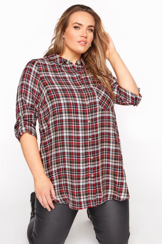 Plus Size  Red Mixed Check Boyfriend Shirt