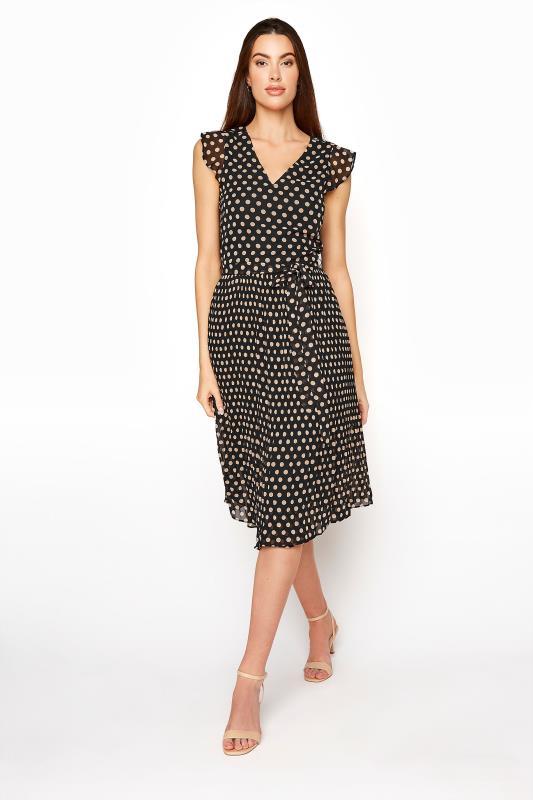 Tall  LTS Black Polka Dot Chiffon Dress
