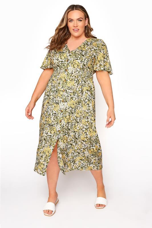 YOURS LONDON Green Floral Button Through Midi Dress_A.jpg
