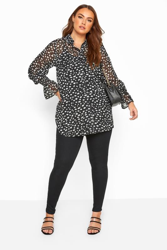 Black Dalmatian Print Shirred Cuff Boyfriend Shirt