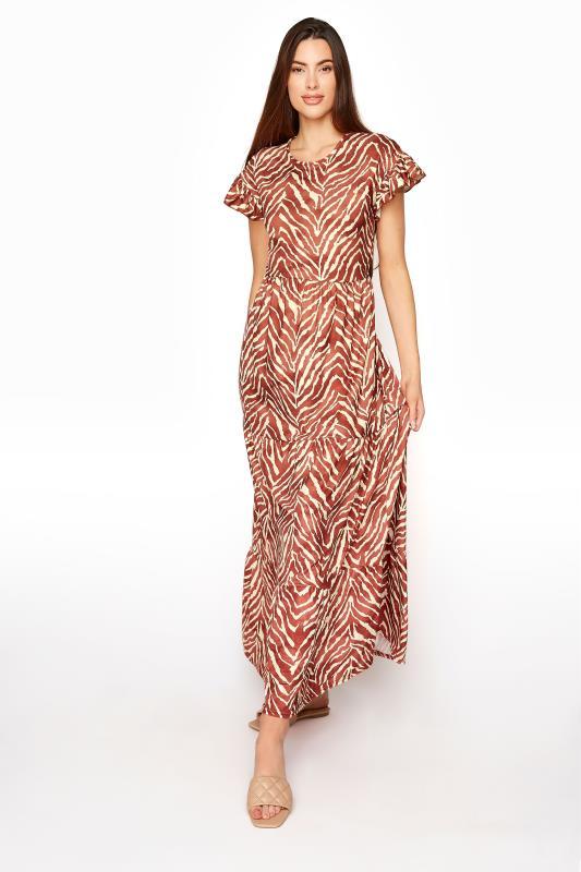 Tall  LTS Rust Zebra Print Tiered Midaxi Dress