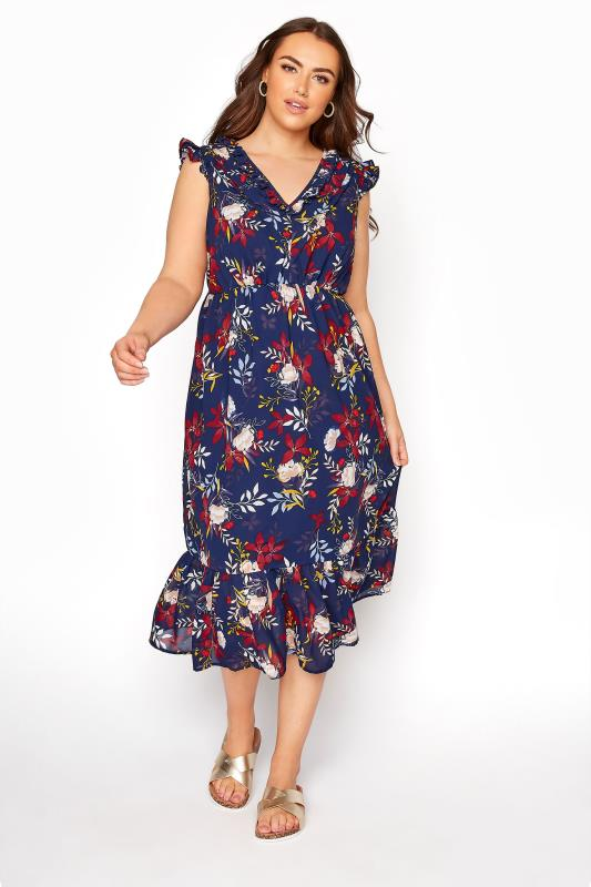 Navy Floral Ruffled Midi Dress