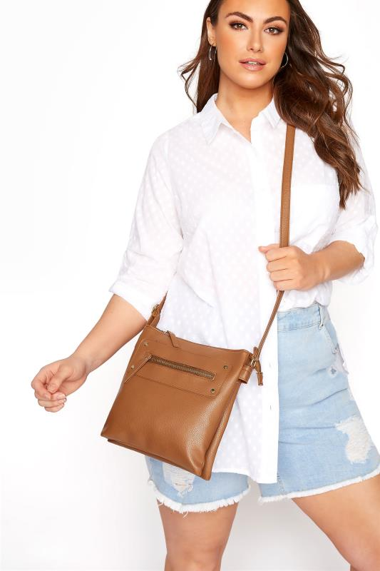 Yours Tan Dual Zip Cross Body Bag